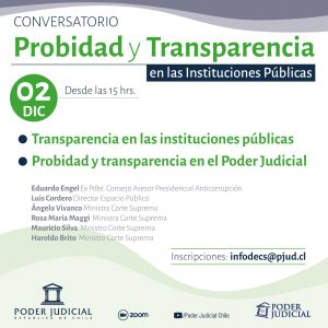 Corte Suprema invita a conversatorio sobre probidad y transparencia en las instituciones públicas